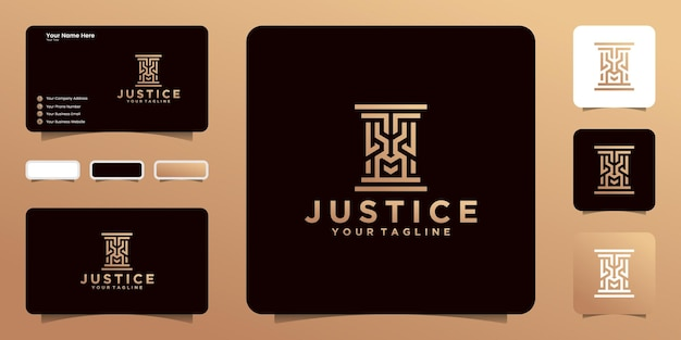 Логотип столба с дизайном шаблона визитной карточки в форме льва и вдохновением