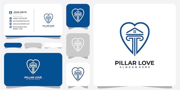 Pillar love home logo design concept. the pillar logo design inspiration. pillar love logo design