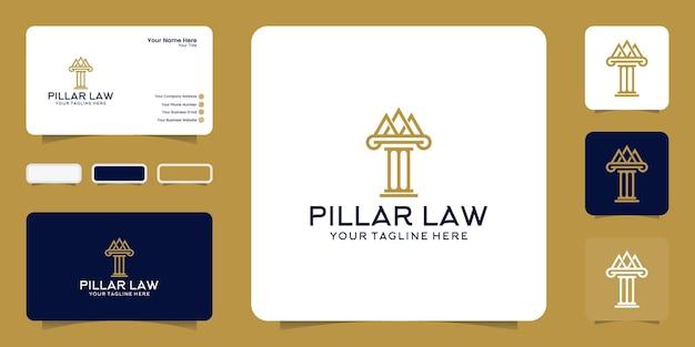 Логотип столпа правосудия и вдохновение визитной карточки Premium векторы