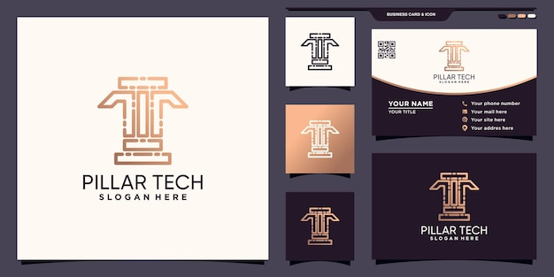 Pillar tech logo design with unique line art style and business card design premium vector