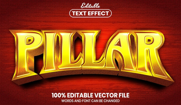 ピラーテキスト、フォントスタイルの編集可能なテキスト効果