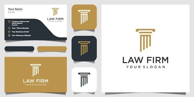 Pillars logo icon designs inspiration. logo design and business card
