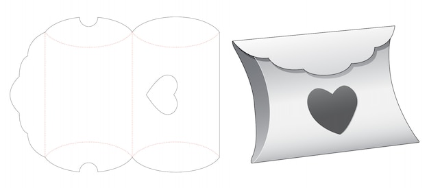 Pillow box with heart shaped window die cut template