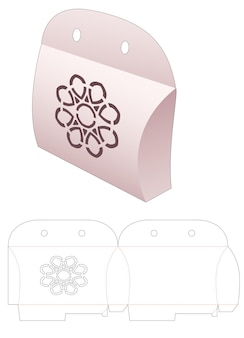 Pillow box with stenciled mandala and ribbon hole die cut template
