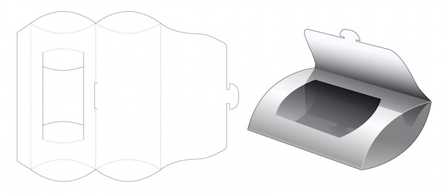 Pillow box with window die cut template