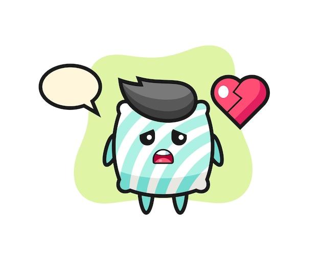 Pillow cartoon illustration is broken heart , cute style design for t shirt, sticker, logo element