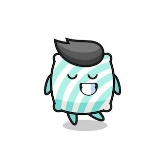 수줍은 표정이 있는 베개 만화 삽화, 티셔츠, 스티커, 로고 요소를 위한 귀여운 스타일 디자인