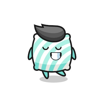 Pillow cartoon illustration with a shy expression , cute style design for t shirt, sticker, logo element