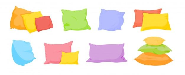 枕漫画セットマルチカラーフラット。ホームインテリアテキスタイル。カラフルなクッション各種形状