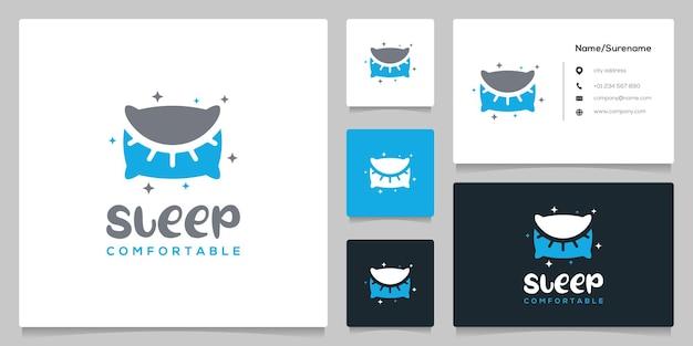 Pillow eye sleep comfortable cotton logo design negative space with business card