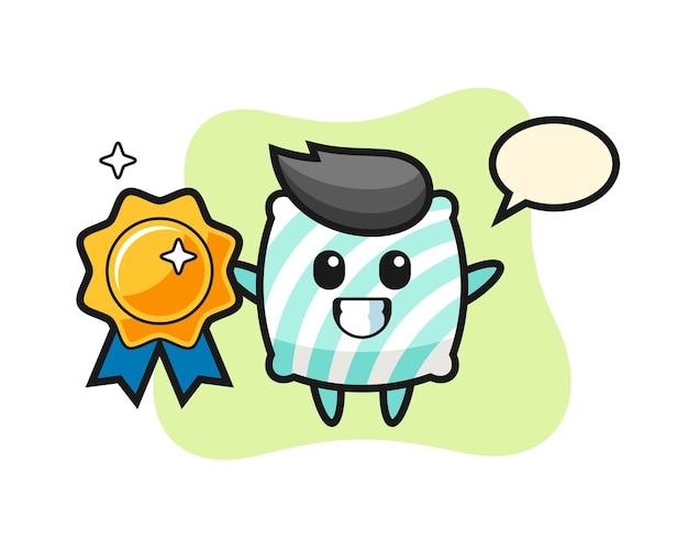 Pillow mascot illustration holding a golden badge , cute style design for t shirt, sticker, logo element