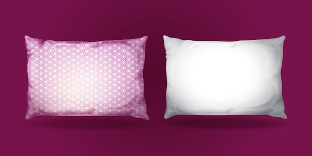 Pillow mockup set. realistic bedding fabric elements.