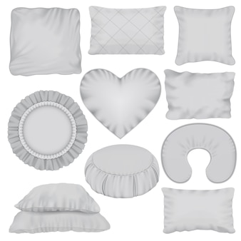 Pillow mockup set. realistic illustration of 10 pillow mockups for web