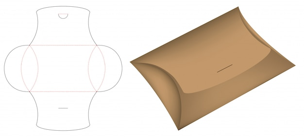 Pillow pack box die-cut template mockup 3d