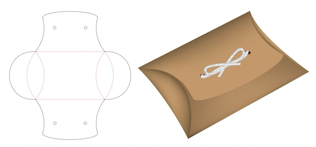Pillow pack box die-cut template