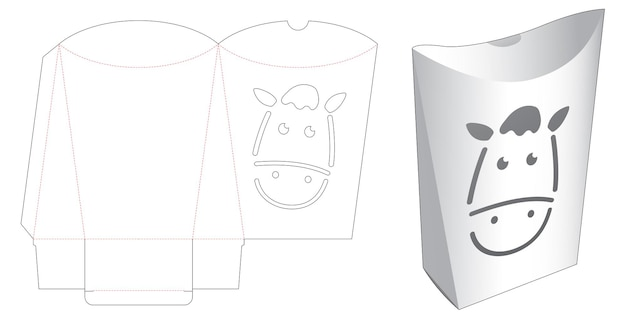 Pillow packaging with horse face stencil die cut template