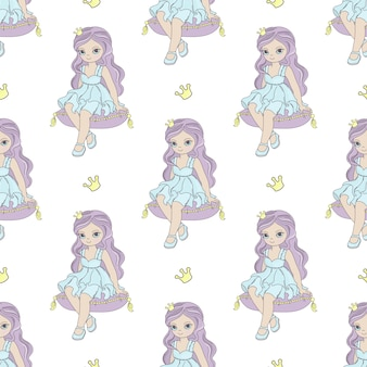 Pillow princess fairy tale seamless pattern