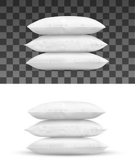 베개 더미, 흰색 쿠션의 현실적인 개체. 직사각형 침대 베개의 고립 된 더미