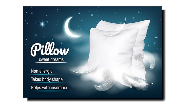 Pillow for sweet dreams advertising banner