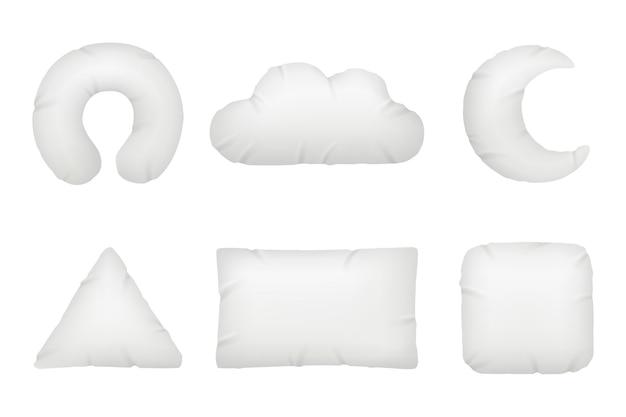 베개 다른 모양입니다. 긴장을 풀고 편안한 휴식을 위한 야간 기호 또는 깃털 베개 벡터는 사실적입니다. 면 침구 베개, 직물 섬유 푹신한 일러스트