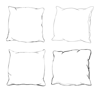 Pillows. hand drawn set of pillows. doodle illustration