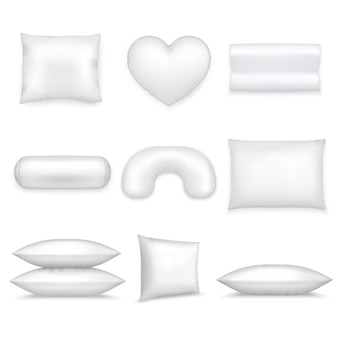 Pillows realistic icon set