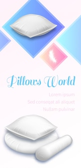 Pillows world banner, pile of white soft cushions