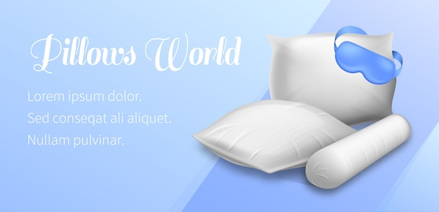 Pillows world horizontal banner blank soft pads