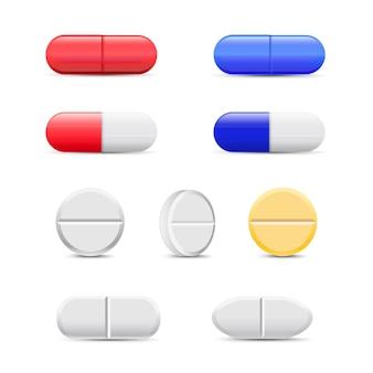 Таблетки и цветные капсулы