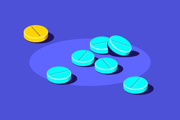Таблетки и таблетки медицинских препаратов на синем фоне. лекарства, концепция фармацевтики. плоский стиль иллюстрации.