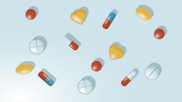 알약 캡슐 어유 의약품과 의료 테마에 알약 배경