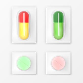 錠剤ブリスターパック、薬の錠剤とカプセル