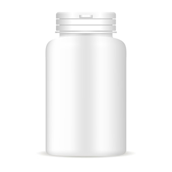 Pills bottle in white color. medical drug package