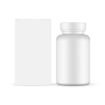 Бутылка таблеток с макетом бумажной коробки, изолированные на белом фоне векторные иллюстрации