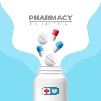 Таблетки, капсулы и лекарства квадратный баннер