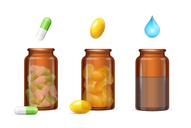 Pills capsules in medical glass brown bottle set. vector illustration