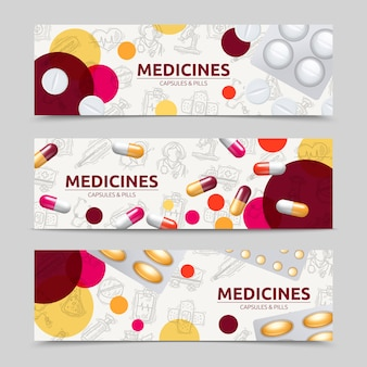 Pills capsules and medicines horizontal banner set