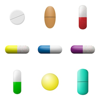 Pills and capsules set. pharmacy drugs icons. medicament symbols  .