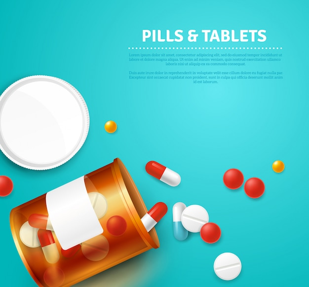 Pills capsules and tablets bottle on blue background realistic