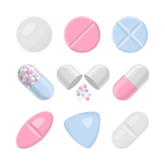Pills and drugs colorful realistic icon set