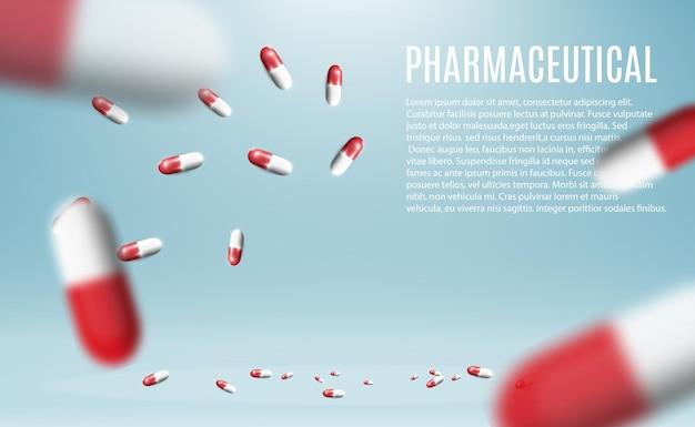透明な背景の上の瓶から飛んでいる丸薬