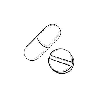 Таблетки рисованной наброски каракули значок. таблетка и капсула как концепция лекарства, лекарства, лекарства и аптеки. векторная иллюстрация эскиз для печати, интернета, мобильных устройств и инфографики на белом фоне.