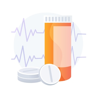 Pillole per cuore, bottiglia di compresse. prodotti di farmacia, assistenza sanitaria, dosaggio di antibiotici. antidolorifici, analgesici, sedativi su sfondo bianco. illustrazione della metafora del concetto isolato di vettore Vettore gratuito