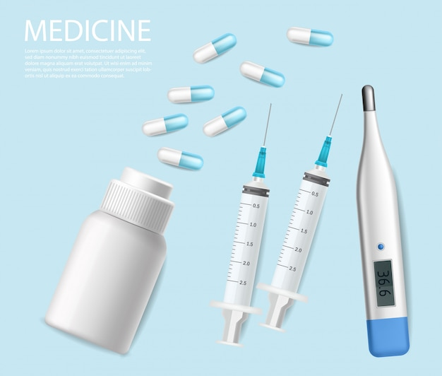 Pills, medical needles and test realistic. syringe and thermometer 3d illustrations