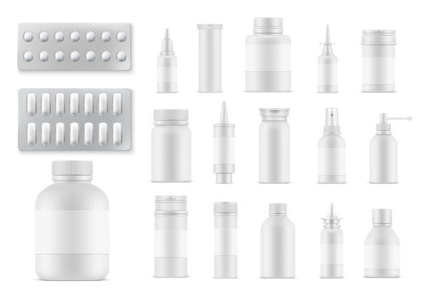 Pills and medicaments realistic bottles and packages