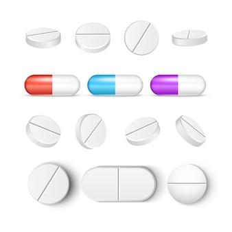 丸薬薬カプセルベクトルアイコン分離セット。薬局の錠剤治療鎮痛剤またはビタミン薬。