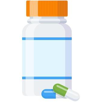 알약 플라스틱 병 또는 비타민 보충 용기 벡터