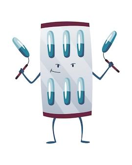 Pills super hero. cute cartoon character with smiled face. blister with capsule like a superman