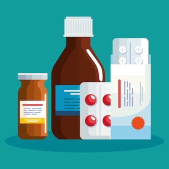 Таблетки сироп и горшок