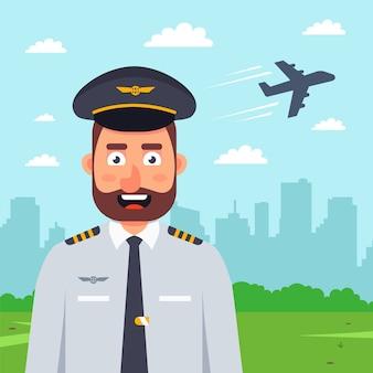 Пилот и взлет самолета
